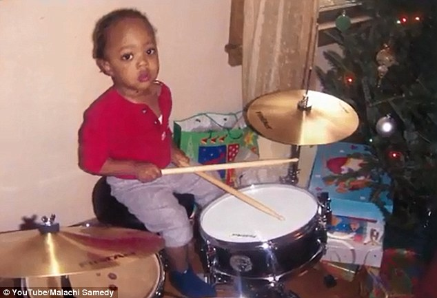 Making music: The talented youngster received his first drum kit when he was just 18 months old
