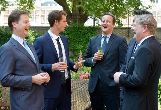 What a wheeze: Wimbledon winner Andy Murray talks to Nick Clegg (left) Prime Minister David Cameron (centre), Ed Miliband (out of shot, right) and SNP Westminster leader Angus Robinson (right)