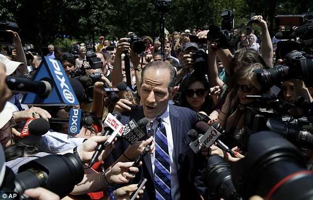 Sordid history: Former governor Elliot Spitzer also announced on Monday that he is running for the City Comptroller position, in spite of his resignation in 2009 for soliciting prostitutes