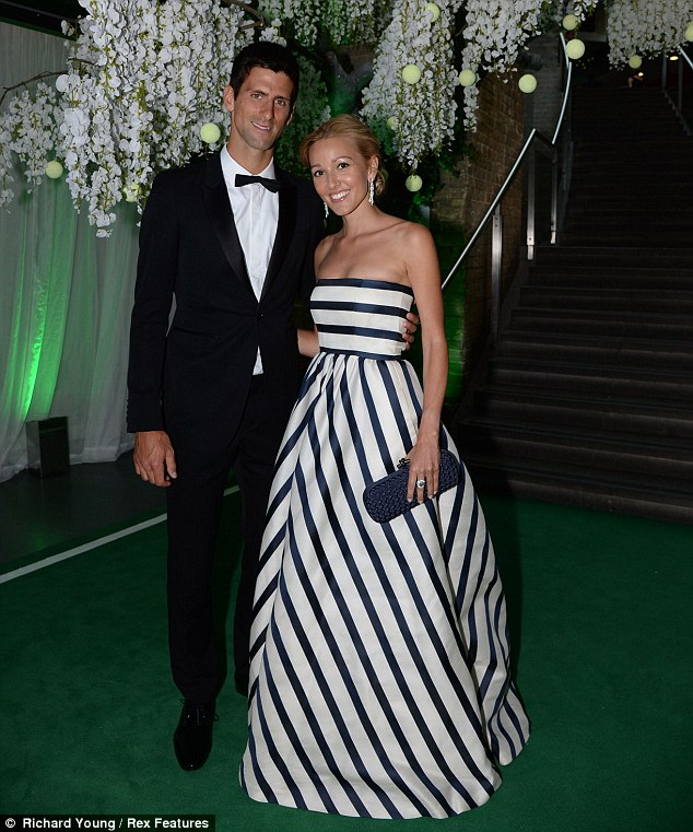 Suited and booted: Djokovic arrived at the gala dinner in an immaculately tailored black suit, which he teamed with a crisp white shirt and bow-tie