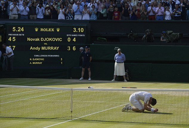 On his knees: Murray admitted it will be difficult to top his Wimbledon triumph