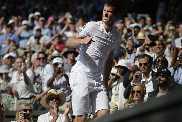 Scaling new heights: Murray played tribute to his team after beating Novak Djokovic in Sunday's final