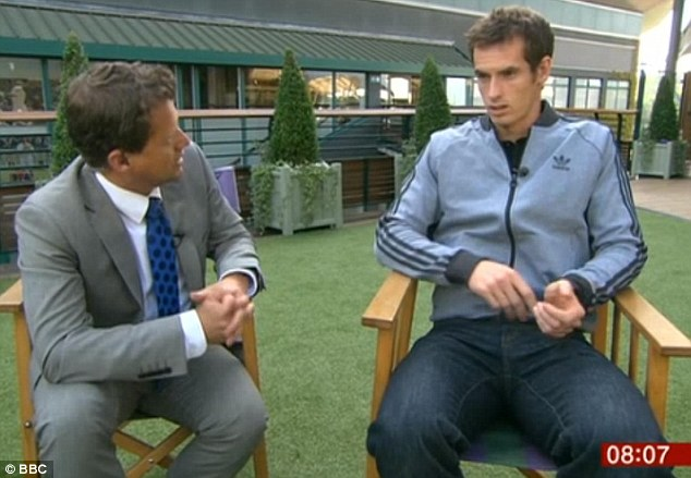 Dressing down: Murray arrived for his media duties on Monday morning wearing a sports top and a pair of jeans