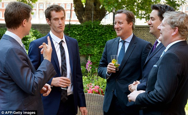 Famous faces: Murray shares a joke with David Cameron, Nick Clegg, Ed Miliband, and Scottish National Party Westminster leader Angus Robinson, on a visit to Downing Street yesterday