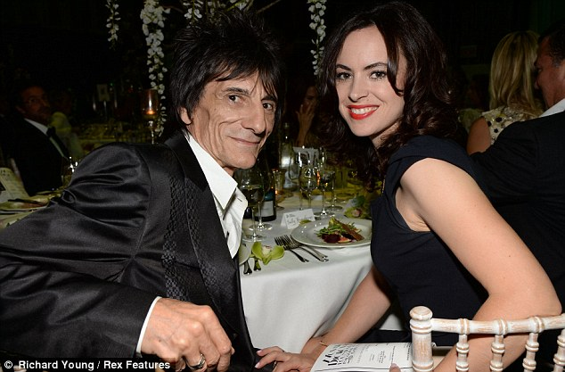 Date night: Despite all the beautiful women in attendance Ronnie Wood only had eyes for wife Sally Humphreys
