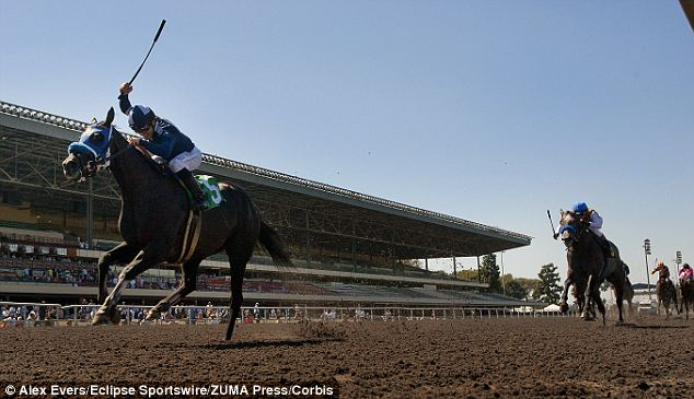 Mother and a jockey: An event at Hollywood Park, Inglewood, in 2012