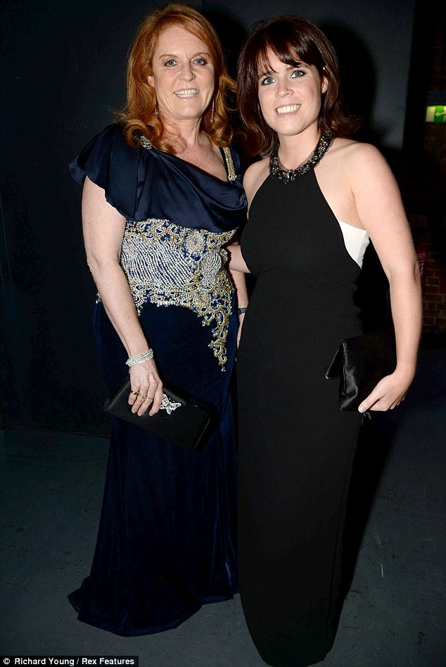 Like mother: Princess Eugenie poses with mother Sarah Ferguson leaving the party