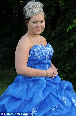 Paige wore a custom made gown to her school prom in Telford