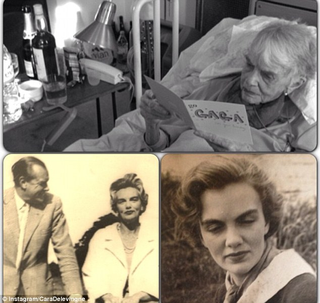 High society: Cara's granny Margo, who was 101 this week, was the daughter of an aristocrat and Tory MP