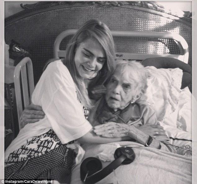 Family love: Cara's grandmother, Margo, was celebrating her 101st birthday in hospital