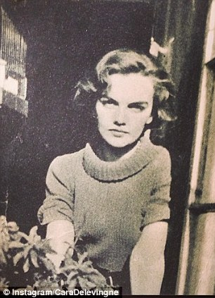 So THAT's where the eyebrows came from! Cara Delevingne uploaded this vintage snap of her grandmother to Instagram, the pair look almost identical