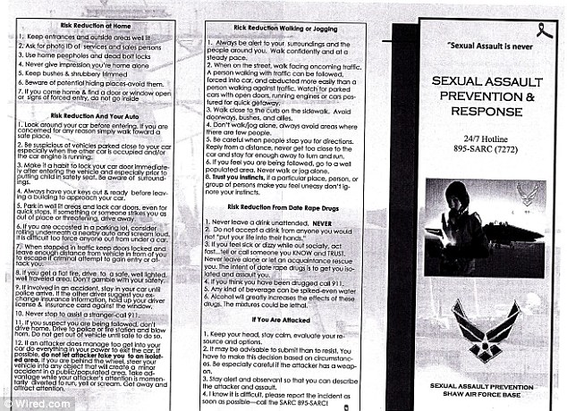 Pulled: The Air Force has removed this brochure from circulation after a lawmaker complained about some objectionable advice to sexual assault victims such as submitting to an attack rather than resisting