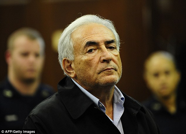 No bail: Strauss-Kahn is seen at Manhattan Criminal Court in New York on May 16, 2011, after a New York judge denied the former IMF chief bail