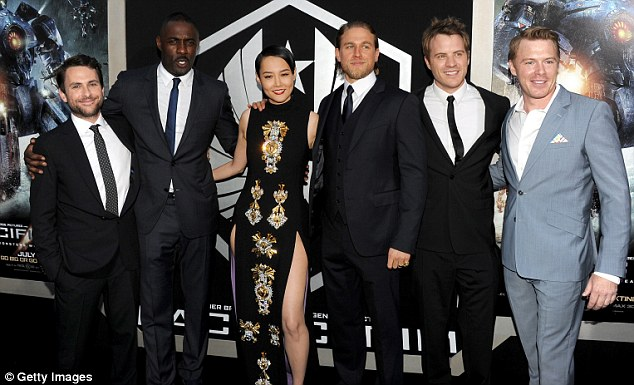 Pride: Charlie joins his co-stars (L-R) Charlie Day, Idris Elba, Rinko Kikuchi, Robert Kazinsky and Diego Klattenhoff