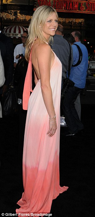 Ray of sunshine: Always Sunny In Philadelphia star Kaitlin Olson looked stunning in a pink dip dyed gown