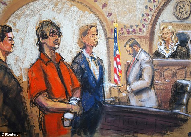 Defense: Attorneys Miriam Conrad and Judy Clarke flank Dzhokhar Tsarnaev before Judge Marianne Bowler. Clarke is known for representing those accused of crimes punishable with the death penalty such as Unabomber Ted Kaczynski