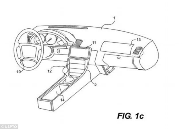 This image, taken from an Apple patent, is an early design for a Digital Dash - car dashboards fitted with touchscreens.