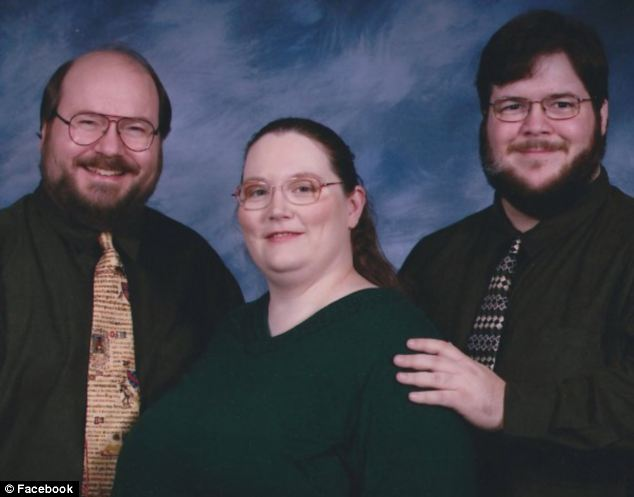 'The three of us': A Facebook image shows Laura and Karl (left) Gallagher with Miles McDaniel (right), who are in a polyamorous relationship