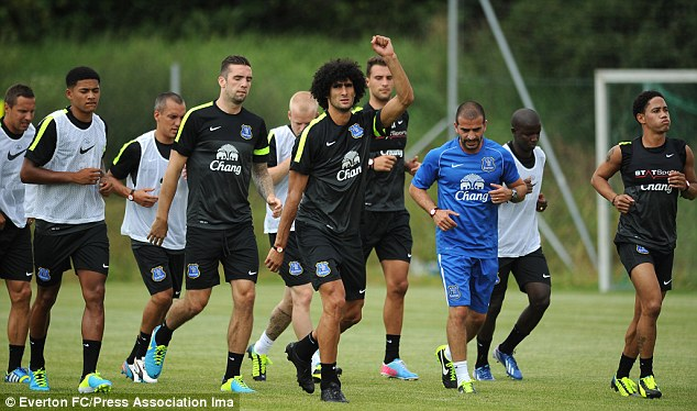 Back in the swing: The squad were training ahead of their pre-season fixture against Austria Vienna