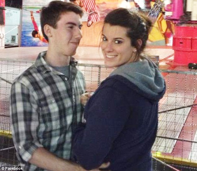 Tragic end: Miss Richardson, pictured with her boyfriend Mason, died in hospital after she swallowed a baggie of meth when arrested on July 5 in a car that was speeding