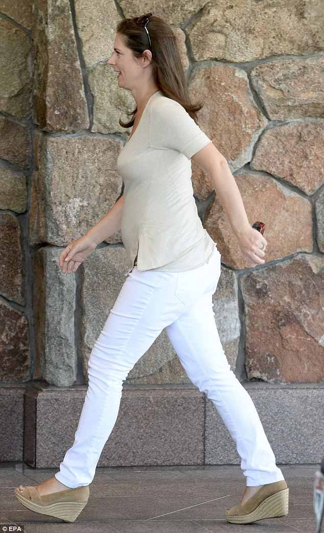 Burnett, seen here arriving at her Sun Valley hotel earlier this week, announced she was pregnant in June. She and her husband, whom she wed last December, are expecting their first child in November