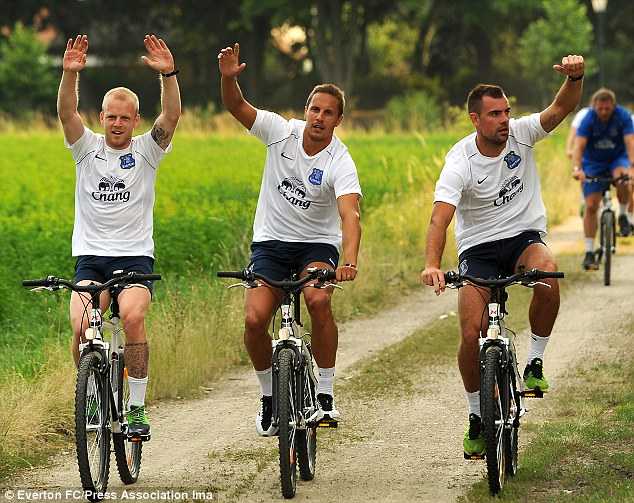 Winners: Phil Jagielka (centre), Steven Naismith (left) and Darron Gibson celebrate after coming home first