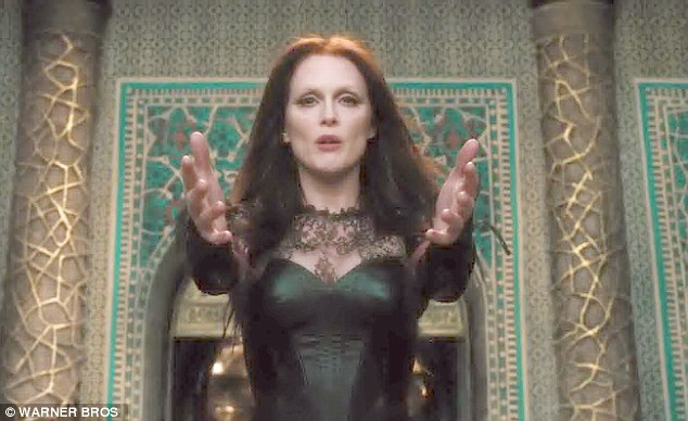 Evil witch: Julianne Moore plays wicked Mother Malkin opposite Ben Barnes in The Seventh Son!