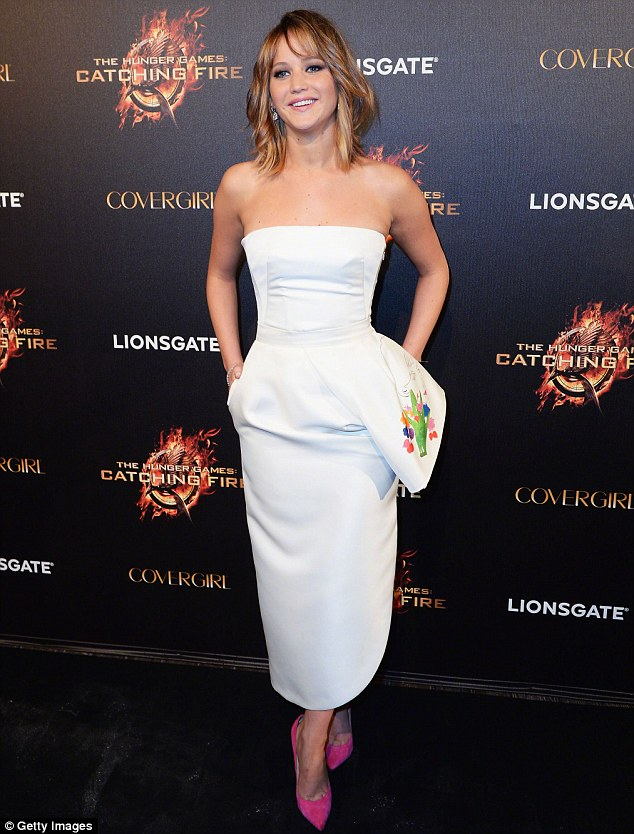 Girl love: Aldridge revealed she has a crush on actress Jennifer Lawrence, pictured in France in May