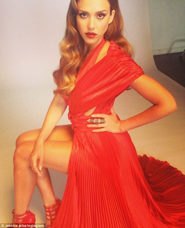 'Played dress up 2day': Jessica Alba went from daytime drab to high-fashion vamp for a photo shoot in Hollywood Wednesday