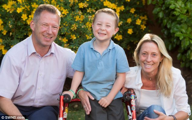 Mr Black raised £20,000 to pay for stem cell treatment but he then gave all of the money to Brecon Vaughan, 5, (pictured with his parents Ann and Rob) who has cerebral palsy
