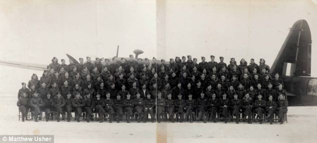 Mr Wallis's squadron is pictured here by a bomber at the height of the war