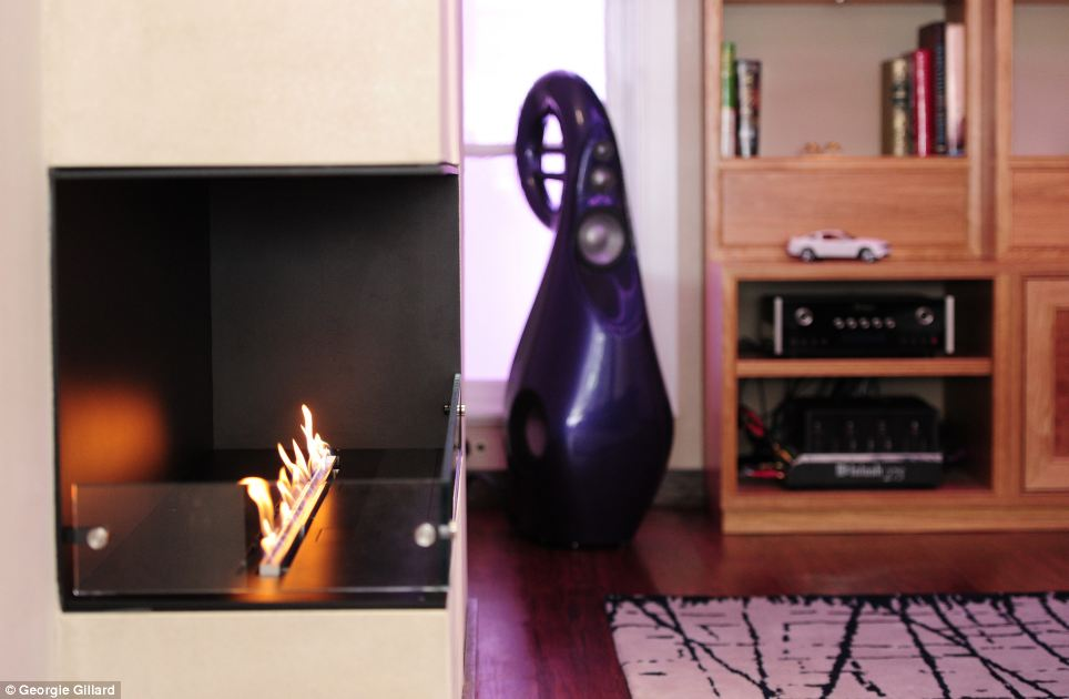 The open-hearth fireplace in the lounge, pictured, does not need fuel because it burns ethanol.