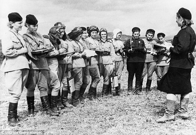 Action stations: Night Witch pilots receive orders before a raid on the Byelorussian front in 1944