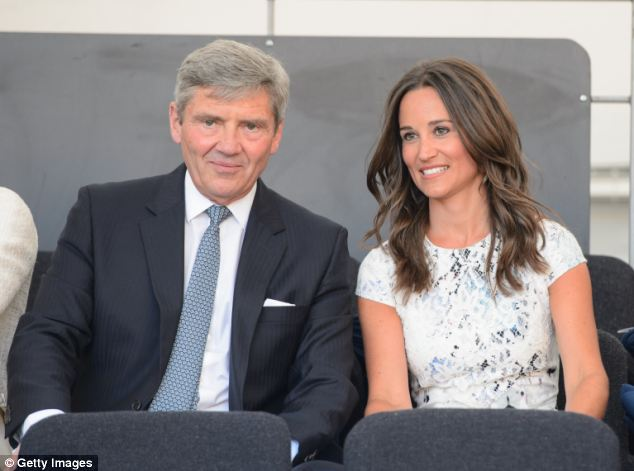 Relaxed: Grandfather-to-be Michael Middleton did not seem worried about his eldest daughter's impending labour as he chatted with Pippa