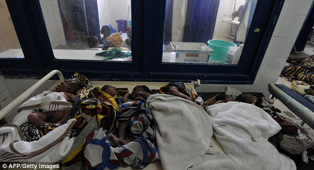 Tough conditions: Charities such as Medecins Sans Frontier run maternity wards such as this one in Ivory Coast and in other developing countries to help new mothers