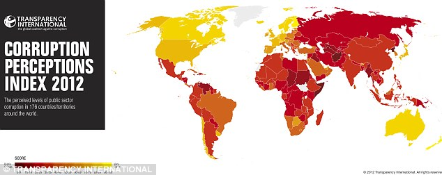 Global endemic: Transparency International's global index for 2012 shows perceptions of public sector corruption