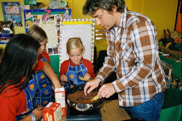 Crusade: Jamie Oliver on the 2005 show 'Jamie's School Dinners' which led to a Government pledge to improve food for school children