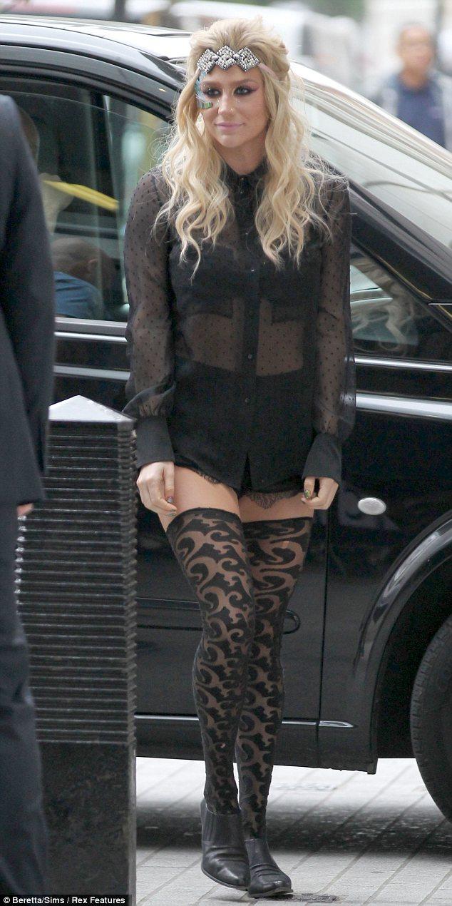 Ke$ha arrives at BBC Radio 1 in London on Friday morning