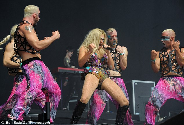 She's got moves: Ke$ha was thrusting for the fans at Wireless Festival at the Queen Elizabeth Olympic park in Stratford