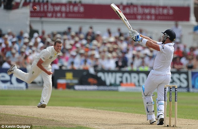 Poor pulling technique: Matt Prior (right) hits Peter Siddle to midwicket and is caught