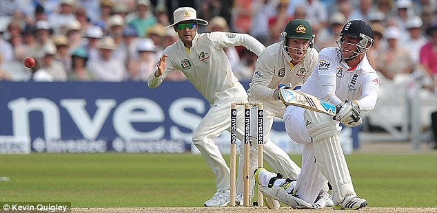 Sweeping statement: Stuart Broad steers the ball away to the leg side