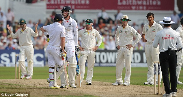 How's that not out? The Australians cannot believe that Stuart Broad (third left) is not back in the pavilion