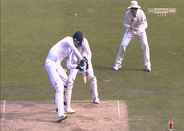 The edge of acceptability: The ball clearly hits Broad's bat - and the Snickometer (below) confirms it