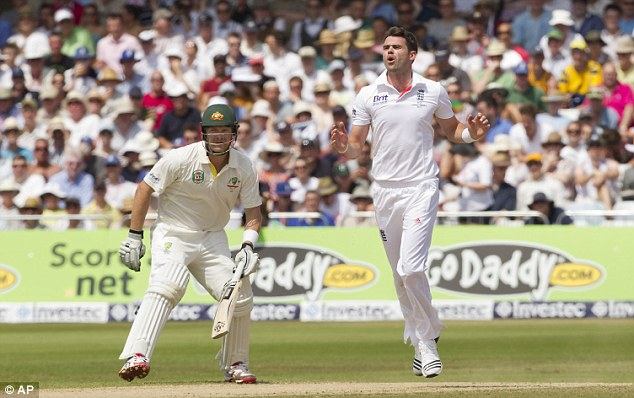Opening up: James Anderson bowls in the fourth innings