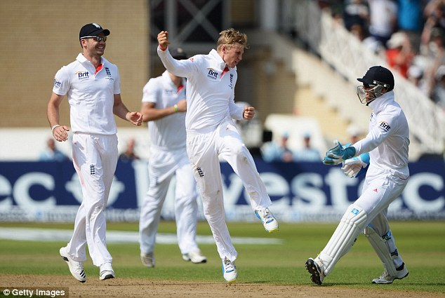 Timely: Root's wicket of Cowan came just before tea to bring Clarke to the crease