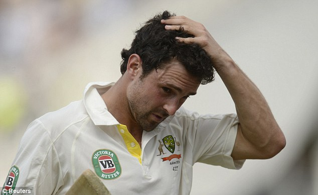 Bad end: Ed Cowan leaves the field after being dismissed just before tea