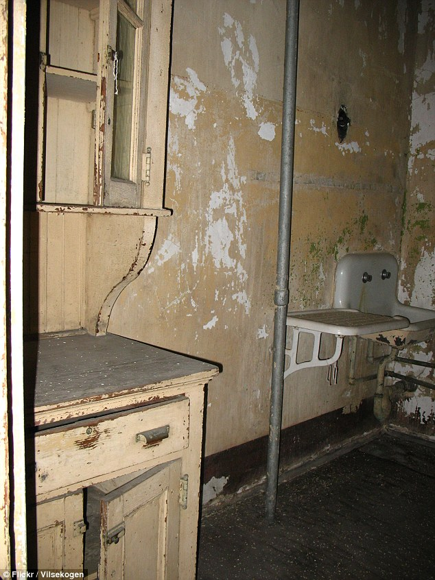 Decay: This washroom, with its scuffed paint, stained sink and mirrored cabinet looks uninviting