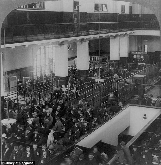 Arrivals: Immigrants line up for inspections after arriving in New York