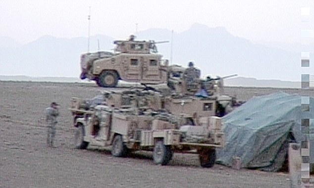 The US troop vehicles moments after the attack on the shepherds. British troops complained about the attack