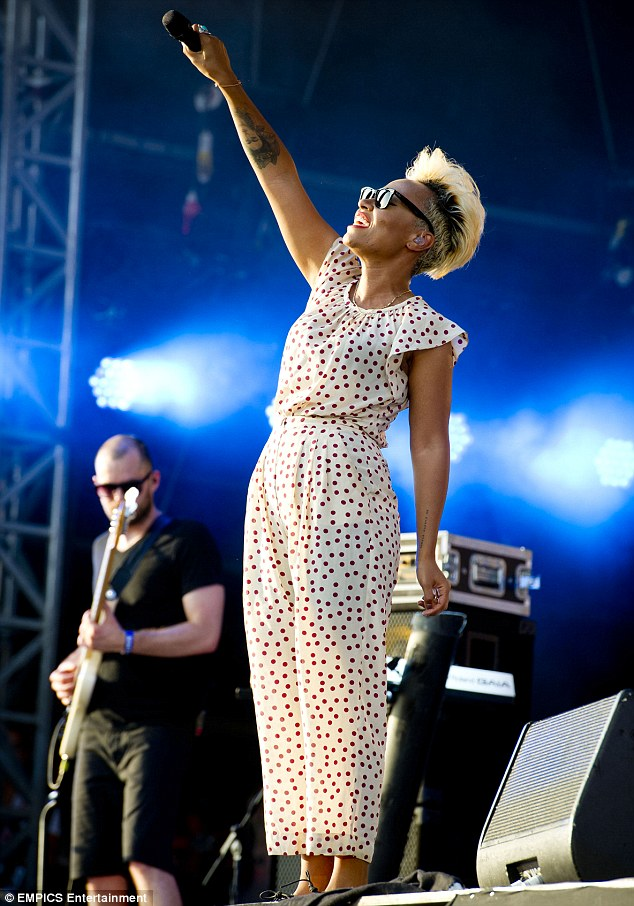 Crowd-pleaser: Making the most of the London heatwave, the Read All About It hitmaker shielded her eyes from the summer sun with a pair of dark shades as she performed an energetic set for the assembled crowd